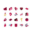 happy valentines day isometric icons collection vector image
