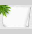 houseplant fern paper wooden desk vector image