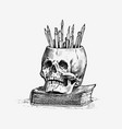 human skull with pencils retro old school sketch vector image vector image