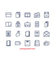 Line icons of print design products from pamphlet