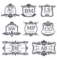 luxury logo monograms with decorative ornament vector image