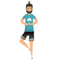 man in yoga pose isolated male on one leg vector image