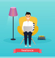 man working at home young man sitting on a chair vector image