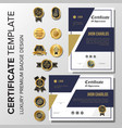modern certificate with badge vector image vector image
