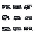 motorhome car trailer icons set simple style vector image vector image