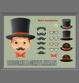 mustache bow glasses top hat gentleman victorian vector image vector image