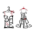 Sale lettering on shirt and dress shape vector image vector image