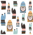 seamless pattern with cactuse in tribal style vector image vector image