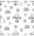 seamless pattern with cute funny cartoon character vector image vector image