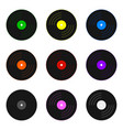 set colored vinyl records isolated on white vector image