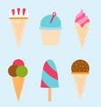 set ice cartoon colorful cream dessert vector image vector image