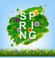 spring flowers border with grass vector image vector image