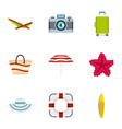 summer icons set flat style vector image vector image