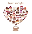 Symbol Heart made of different desserts Cake vector image vector image