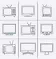 tv set - outline icons vector image vector image