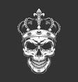vintage king skull wearing crown vector image vector image
