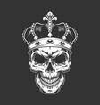 Vintage king skull wearing crown