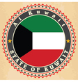 Vintage label cards of Kuwait flag vector image vector image