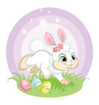 white easter bunny character with eggs vector image vector image