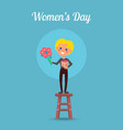 womens day poster with child on stool vector image vector image