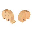 wooden handcraft elephant on white background vector image vector image