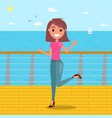 young girl posing on seafront fashionable vector image