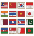 distressed asian flags vector image
