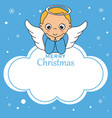angel card on cloud vector image vector image