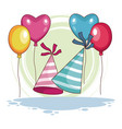 birthday hats and balloons vector image vector image