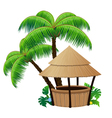 Bungalow bar and palm trees vector image