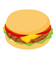 burger small icon isometric 3d style vector image
