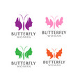 butterfly woman logo design template vector image vector image