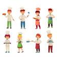 cartoon cooking children little chef cooks food vector image