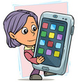 cartoon girl character with funny big smartphone vector image vector image