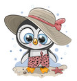 cartoon penguin on beach in a straw hat vector image vector image