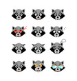 cartoon raccoon emotions set vector image