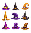 cartoon witch hats colorful icons set wizard hat vector image vector image