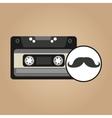 cassette vintage mustache style hipster vector image vector image