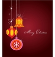 Christmas greeting card with balls and ornaments vector image vector image