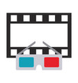 cinema glasses and movie tape isolated icon vector image