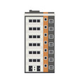 city apartment house front view in flat style vector image
