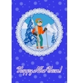 Congratulation card new year with man on the vector image vector image