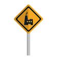 diamond caution emblem factory pollution vector image