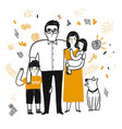 drawing character family vector image