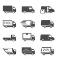 express delivery trucks glyph icons set vector image