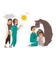 falt doctor and mental patients set vector image vector image