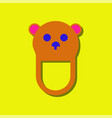 flat icon design teddy bear bib in sticker style vector image vector image