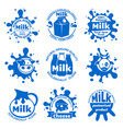 fresh farm cow milk labels healthy dairy blue vector image