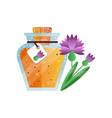 glass jar of honey and carnation flower natural vector image vector image