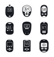 glucose meter sugar test icons set simple style vector image